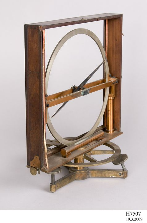 H7507 Inclinometer (also called dip circle or dipping compass), metal / wood / glass, made by Gambey à Paris, Paris, France, [1815-1818]. Click to enlarge.