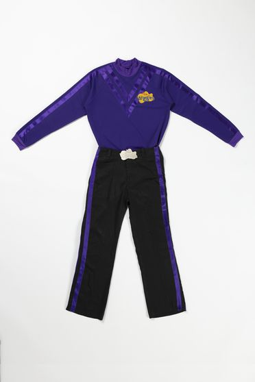 2020/123/10 Costume, 'Purple Wiggle', textile / metal / plastic, worn by Lachlan Gillespie, skivvy designed by Maria Petrozzi, pants made by Casa Adamo, Sydney, New South Wales, Australia, for The Wiggles International Pty Limited, Sydney, New South Wales, Australia, 2012-2020