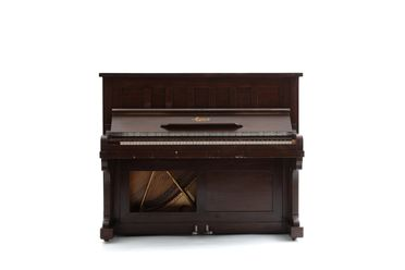 2018/100/1 Piano, 'Mignon', wood / metal / plastic, made by Nicholson and Co Limited, United States of America, c. 1950, used by people living at the Martin Place safe space, Sydney, New South Wales, Australia, 2016-2017
