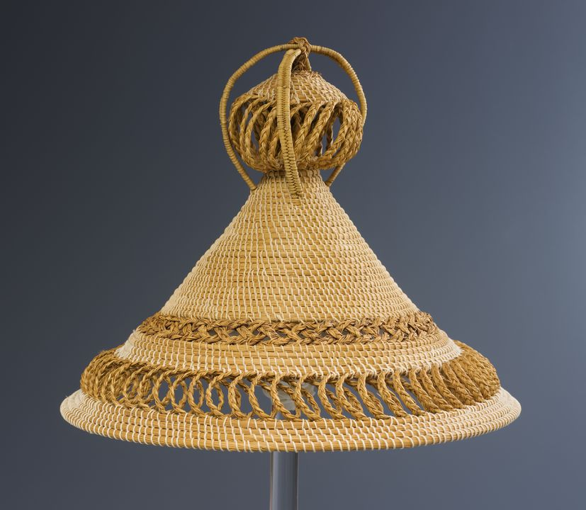 2008/198/1 Hat, 'mokorotlo', straw, maker unknown, Lesotho, used by the AusAID Centre for Pacific Development and Training, Sydney, New South Wales, Australia, 1980-1998. Click to enlarge.