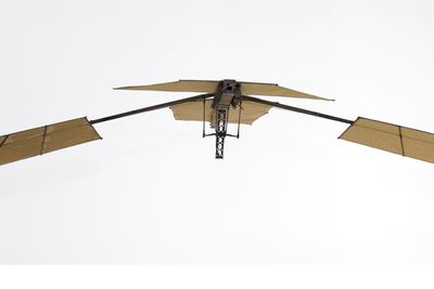 B109 Model flying machine, flapping wing 'Experiment A', paper / wood / leather / plastic / metal / string, made by Lawrence Hargrave, Rushcutters Bay, New South Wales, Australia, 1885