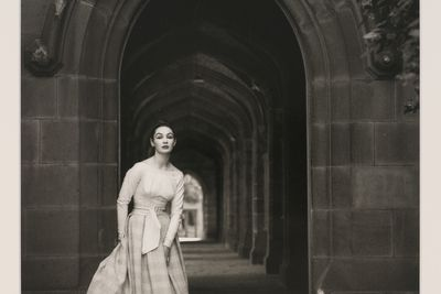 2009/43/1-1/7 Photographic print, black and white, model Helen Homewood, client Hall Ludlow, location Melbourne University, photograph by Bruno Benini, Melbourne, Victoria, Australia, 1957