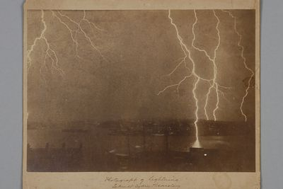95/239/25 Photographic print, mounted on card, lightning strikes taken from Sydney Observatory, paper / albumen emulsion, photographer Henry Chamberlain Russell, Sydney, New South Wales, Australia, 1892