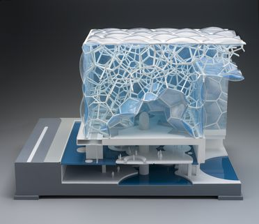 2010/35/1 Sectioned construction model, Beijing National Aquatics Centre or 'Water Cube' with cover, plastic / electrical wiring / internal lighting / wood, made by Micro Model, Beijing, China, 2007