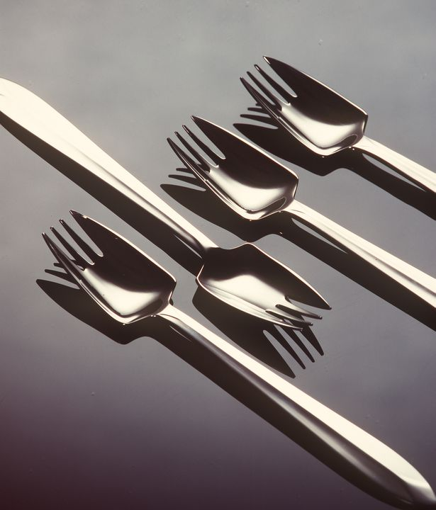 91/1167 Splayd eating utensils (6), in box, stainless steel, William McArthur/ Stokes (Australasia) Limited, Japan, 1962. Click to enlarge.
