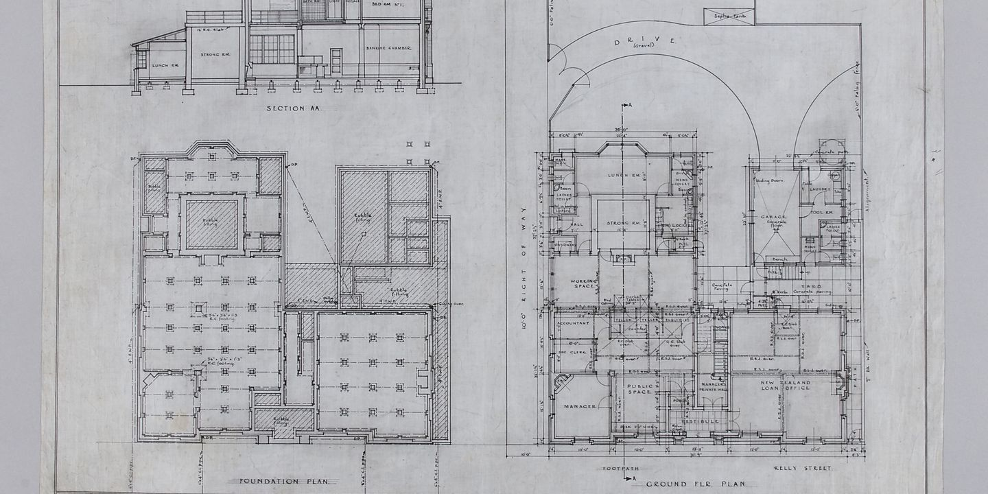Architectural Drawing Foundation And Ground Floor Plan