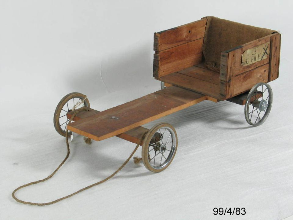 99/4/83 Billycart, wood/ metal/ rubber, maker unknown, Australia, 1950-1970. Click to enlarge.