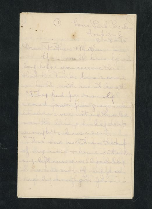 2000/9/6 Letter from Captain Frederick E Boddington to his mother and father from hospital in Cairo, Egypt regarding wounds from Gallipoli, 11 Bn. A.I.F., World War I, paper, Australia, 8 August 1915. Click to enlarge.