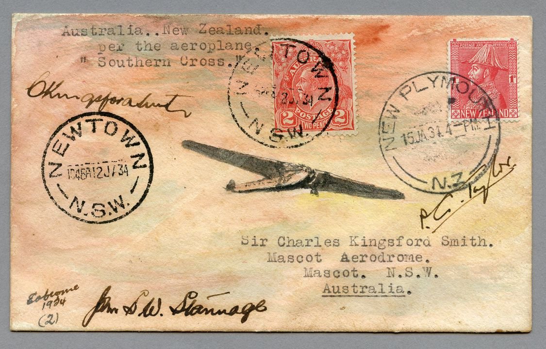 85/112-1 Philatelic cover, Southern Cross flight Australia to New Zealand, paper, painted by E A Crome, Sydney, New South Wales, Australia, 1934. Click to enlarge.