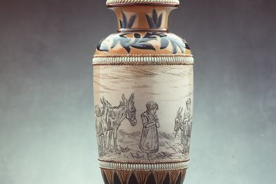 2838 Vase, stoneware, made by Doulton, decorated by Hannah Barlow, England, 1883