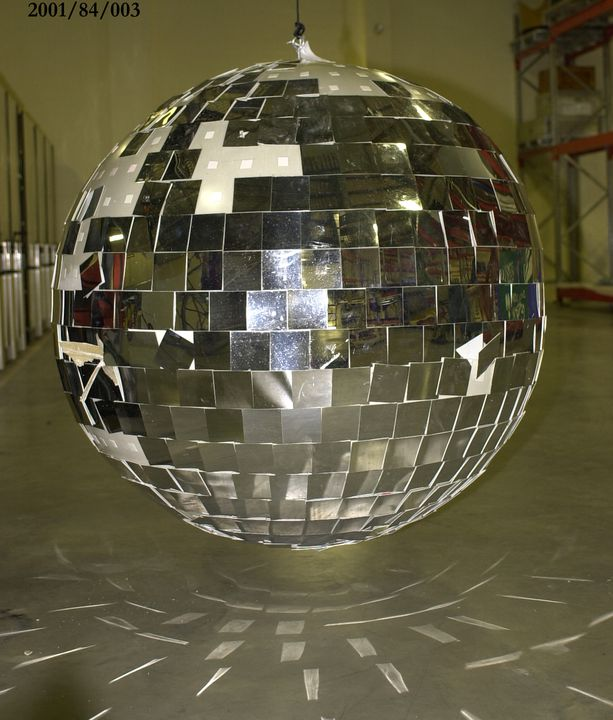 2001/84/3 Mirror ball, large, performance prop, fiberglass / plastic, designed by Brian Thomson, made by Ceremonies Workshop, used at Sydney 2000 Olympic Games closing ceremony, Sydney 2000.. Click to enlarge.