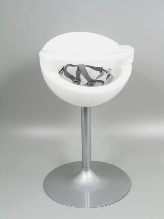 2005/228/1 Highchair, 'Nest', plastic / metal / nylon / paper, designed by Sally Dominguez, Bug Design, Sydney, New South Wales, Australia, 2002-2004, made by Mozzee Design Limited, Wheathampstead, Hertfordshire, England, 2005. Click to enlarge.