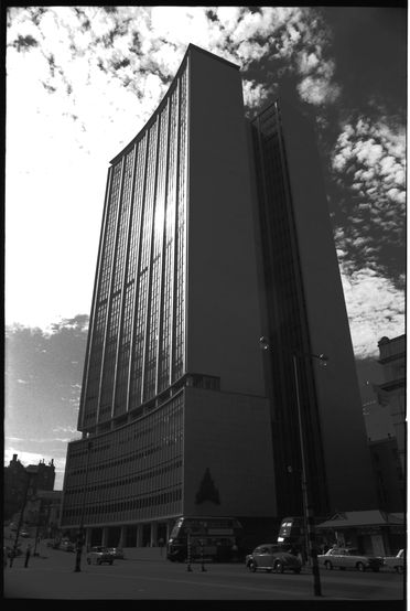 96/44/1-5/4/39/1 Negative, black and white, the AMP building, Circular Quay, for the book 'Sydney, A Book of Photographs', 35mm acetate film, David Mist, Sydney, New South Wales, Australia, 1969