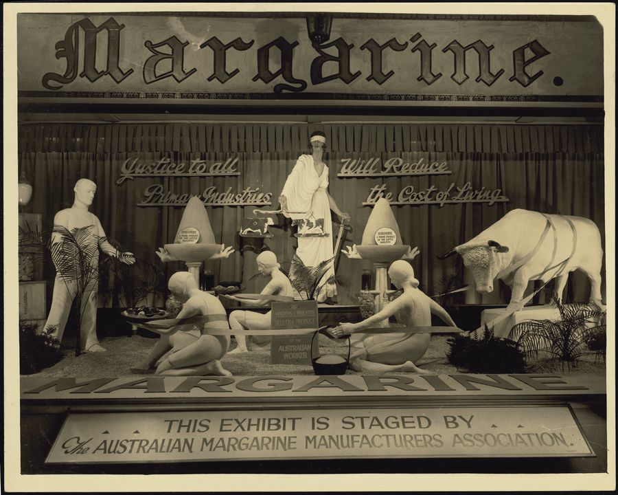 2002/105/1-2/27 Photographic print, black and white, promotional exhibit for The Australian Margarine Manufacturers Association at Sydney Royal Easter Show designed by Rousel Studios, Broughton & Ward, Sydney, New South Wales, Australia, c 1930. Click to enlarge.