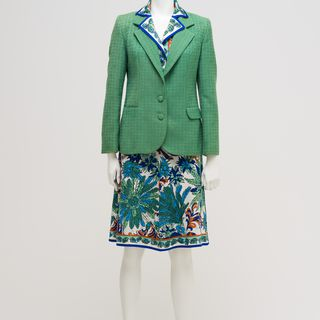 2010/37/3 Cabin crew uniform, including dress, scarf and jacket, womens, polyester / wool / metal, designed by Emilio Pucci, Florence, Italy, for Qantas, various makers, Australia, 1974-1987
