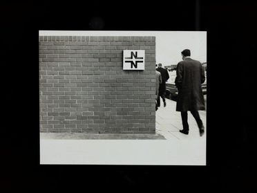 2003/44/1-8/11/6 Photograph, black and white print, National Bank prototype signage, paper, designed by Arthur Leydin, photographed by Mark Strizic, Melbourne, Victoria, Australia, 1968