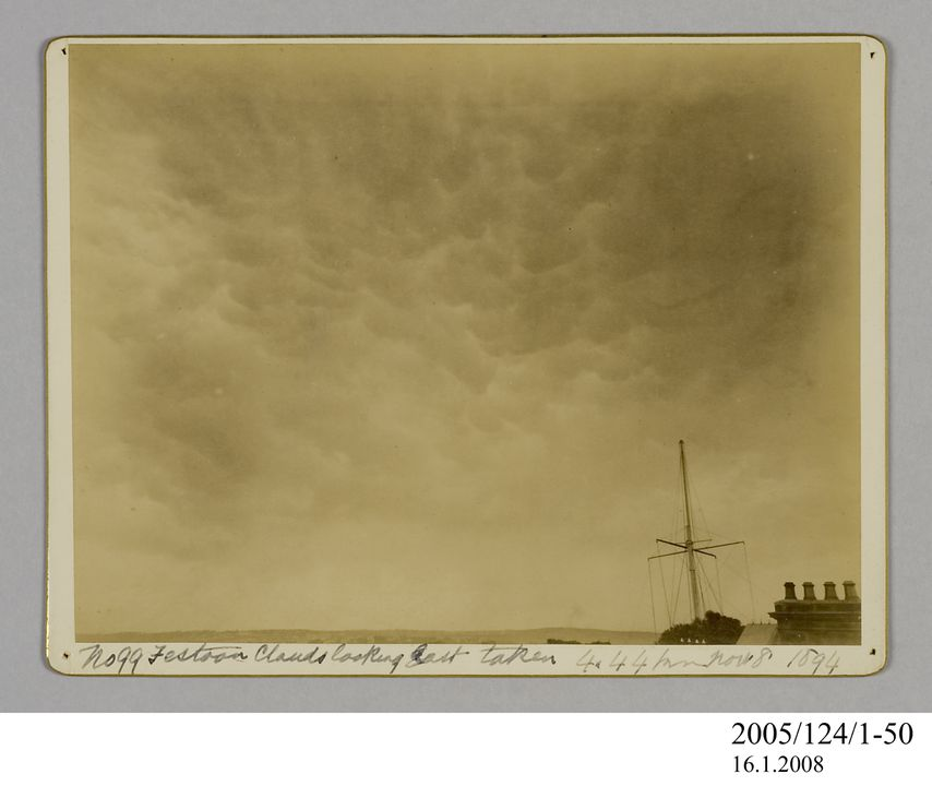 2005/124/1-50 Photograph, part of collection owned by James Short, black and white, festoon clouds looking east, mounted, card / paper, photographer unknown, Sydney, New South Wales, Australia, 8 November 1894. Click to enlarge.