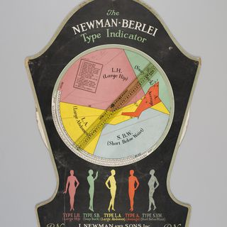 P3645-28/3 Chart, The Newman - Berlei Type Indicator, cardboard / plastic / metal, Berlei Ltd, Sydney, New South Wales, Australia / I Newman & Sons, Inc, New York, New York, USA, c. 1930