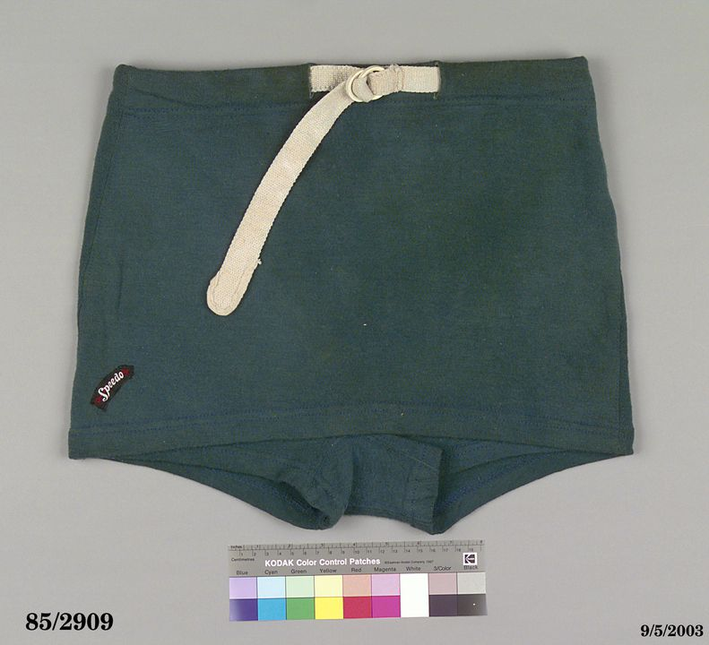 85/2909 Swimsuit, 'Speedo', mens shorts, teal green, wool / cotton, made by MacRae Knitting Mills, Newtown, New South Wales, Australia, worn by B.C. Worbeys, Australia, 1938. Click to enlarge.