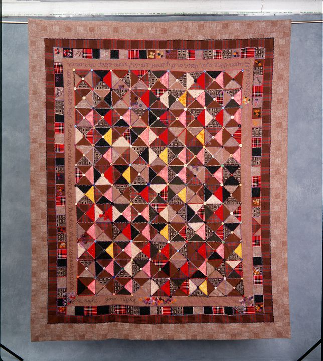 96/393/1 Quilt, 'Goodnight, sleep tight', machine-pieced / hand embroidered, wool, Jocelyn Campbell, Australia, 1990. Click to enlarge.