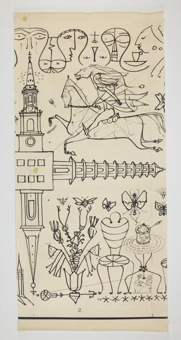 90/58-1/7/74/2 Drawing, photostat copy, black on white, S.S. Orcades mural, panel 2, designed by Douglas Annand for Orient Steam Navigation Company Limited (Orient Line), Sydney, New South Wales, Australia, Sydney, New South Wales, Australia, 1948