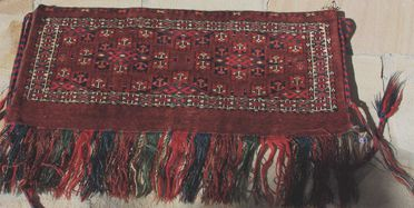 2015/26/48 Storage bag (torba), asymmetrically knotted wool, made by Yomut Turkmen women, Turkmenistan or northeastern Iran, early 1900s