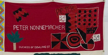 2011/109/1-2 Quilt panel, part of Australian AIDS Memorial Quilt, in memory of Peter Nonnemacher, cotton / paint, made by a friend, New South Wales, Australia, 1989-1990