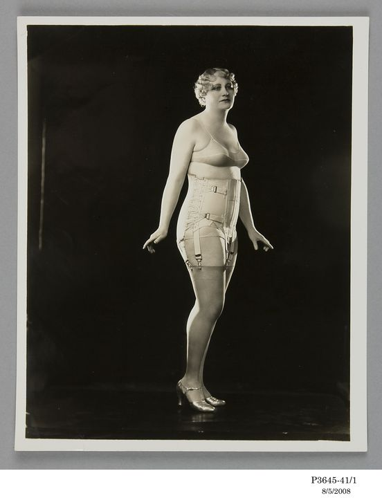 P3645-41/1 Photographic print, black and white, model wearing Berlei girdle and brassiere, Berlei Ltd, Sydney, New South Wales, Australia, c. 1930. Click to enlarge.