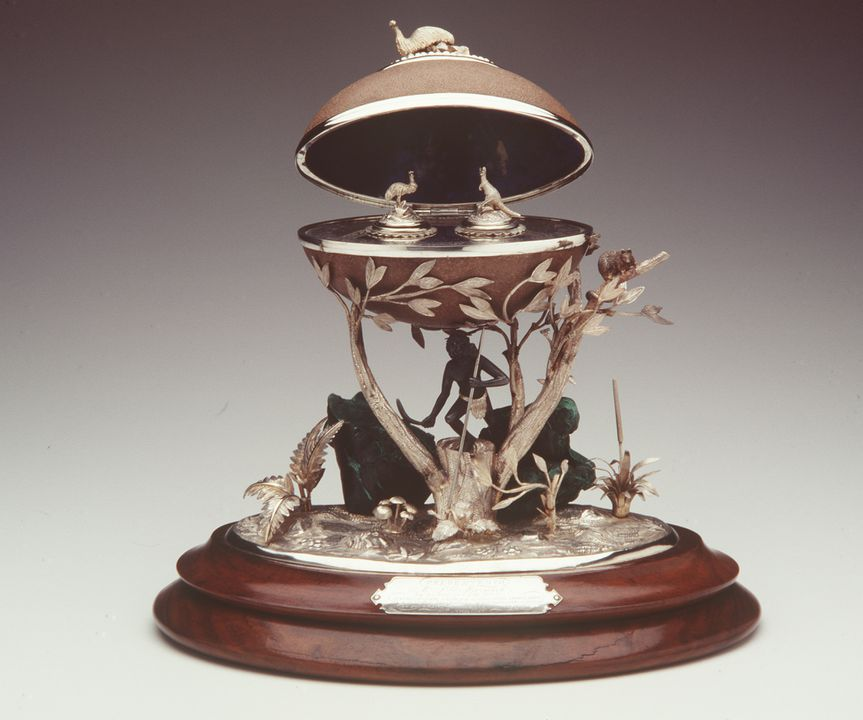 97/299/1 Inkstand, silver, malachite and emu egg, attributed to Julius Hogarth, retailed by Adolphus Blau, Sydney, New South Wales, Australia, 1870. Click to enlarge.