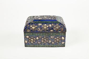 A3220 Perfume casket, enamel / silver / coloured stones and glass, probably from Isfahan, Persia (Iran), Qajar era, 1850s-1900s