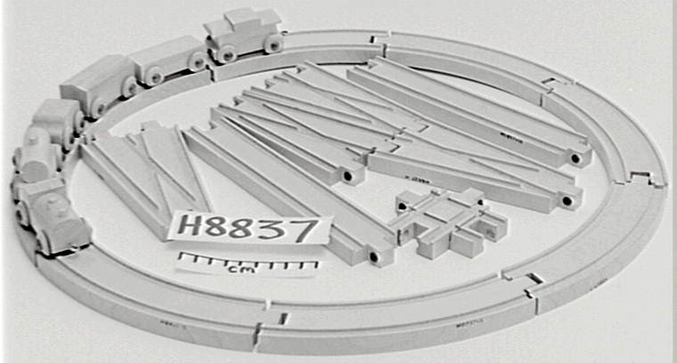 H8837 Toy train set, wood, made by Playskool Manufacturing Co. 3720 N. Kedzie Ave, Chicago, 18, Illionois, U.S.A., part of Monica Piddington collection, New South Wales, Australia, 1960s. Click to enlarge.