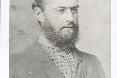 P2903-1/6 Photographic print, black & white, portrait of Lawrence Hargrave, 1878, copy print made c1977