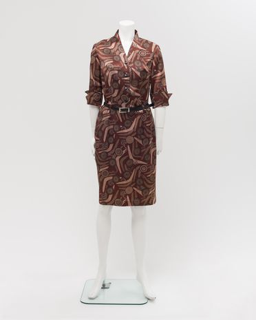 2004/165/1 Uniform, womens, 'Wirriyarra', polyester / leather / metal, designed by Peter Morrissey, 'Wirriyarr'a print by Balarinji Design Studio, for Qantas Airways, Sydney, New South Wales, Australia, made in China, 2003