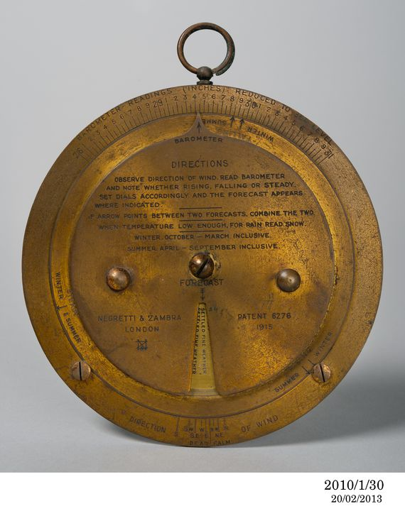 2010/1/30 Weather forecasting device, metal, made by Negretti & Zambra, London, England, 1915. Click to enlarge.