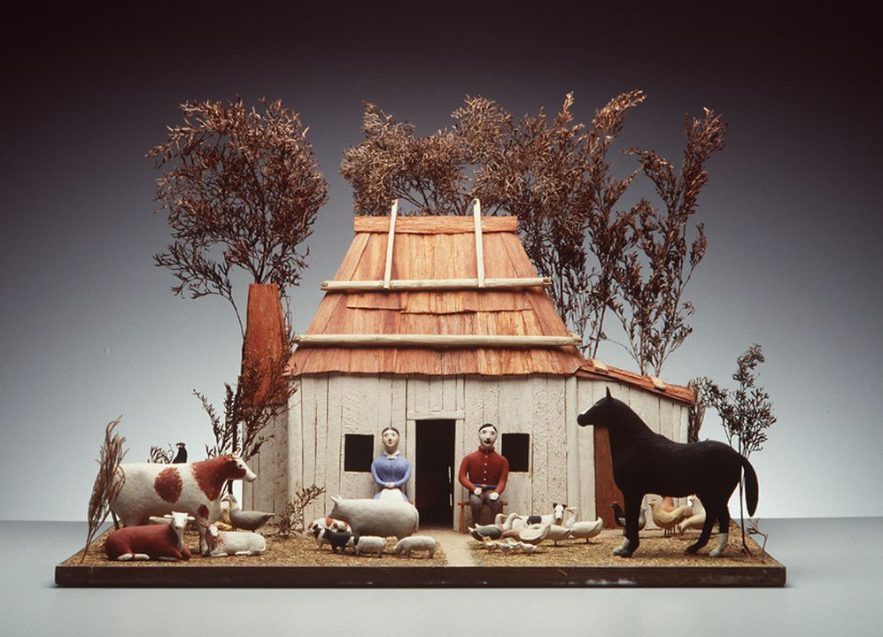 H8272 House model, early Australian settler's slab hut, clay / wood / mixed media, made by [Charlotte Rushby], Mudgee, New South Wales, Australia, c. 1852.. Click to enlarge.