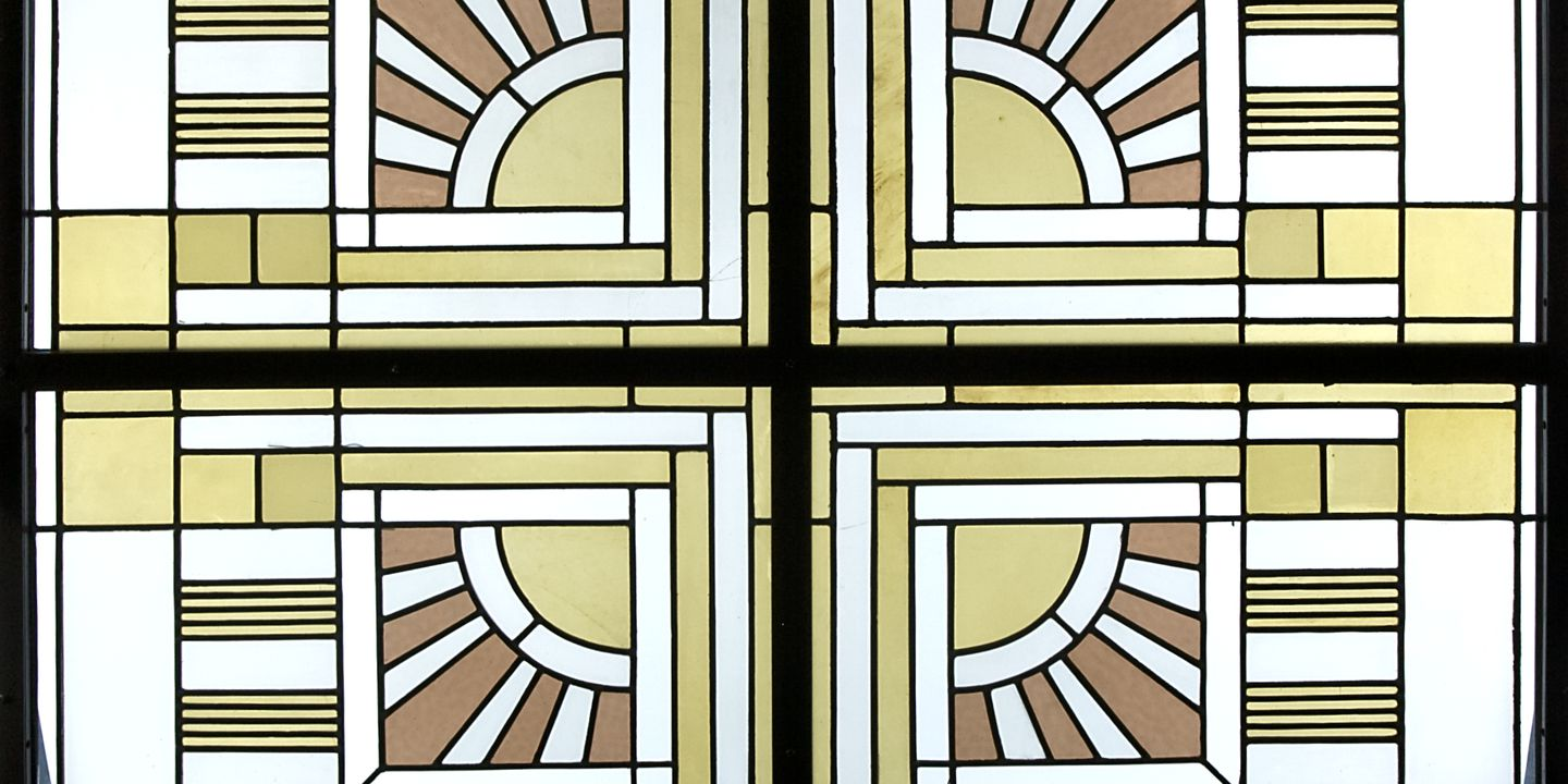 98/95/3 Window panels (4), sun burst design, lead/glass, designed for the 'Ladies Boudoir' of the Capitol Theatre, Swanstone Street, Melbourne, designed by Marion Mahony Griffin and Walter Burley Griffin, Australia, 1921-24. Click to enlarge.