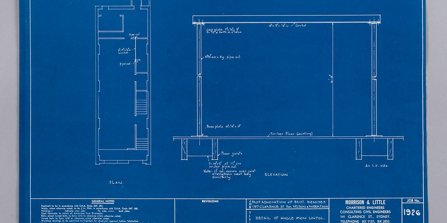 Blueprint detail of angle iron lintol by morrison little blueprint detail of angle iron lintol by morrison little nelson robertson sydney ruwald howard 011255 maas collection malvernweather