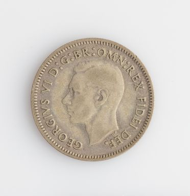 2008/220/1-204 Coin (1 of 325), Sixpence, George VI (1936-1952), silver alloy, designed by William Blakemore and Thomas Humphrey Paget, London, England, minted by Melbourne Mint, Melbourne, Victoria, Australia, 1951