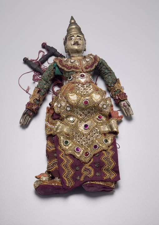 2006/73/1 String puppet (marionette), the king, a prince or senior minister, wood / cotton / velvet / sequins / beads, made in Burma (Myanmar), 1880-1900. Click to enlarge.