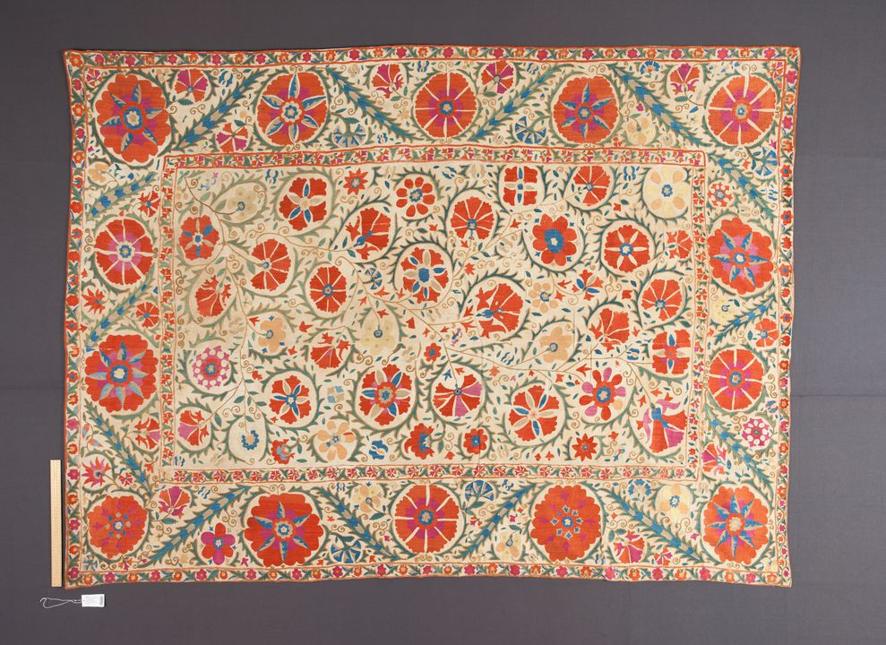 92/775 Suzani (needlework), embroidered, cotton / silk / glass, Bukhara, Uzbekistan, c.1800. Click to enlarge.
