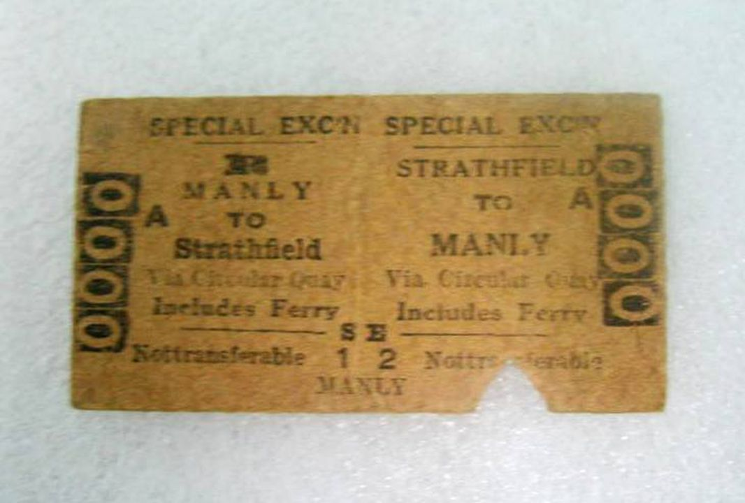 2004/129/2 Ticket, train and ferry, Edmondson type, Manly to Strathfield return via Circular Quay includes Ferry, serial number 0000, pasteboard, printed by New South Wales Government Printing Office, Ultimo, Sydney, Australia, 1956. Click to enlarge.