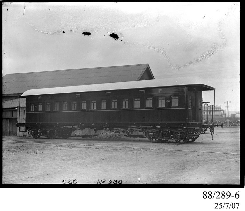 88/289-6 Photographic glass plate negative, depicting the standard gauge, 'American' type, bogie, first-class suburban passenger railway carriage, Code BB, No. 1705, built by Clyde Engineering Pty Ltd, Granville, New South Wales, Australia, 1911-12, for the NSW Government Railways, used in Sydney an. Click to enlarge.