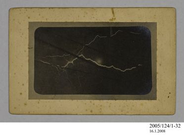 2005/124/1-32 Photograph, part of collection owned by James Short, black and white, lightning flash from a ship at sea, mounted, card / paper, photographer unknown, at unknown location, possibly 1908