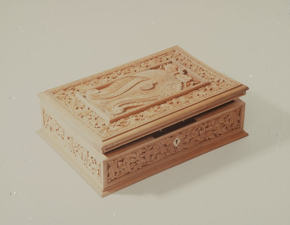 A67 Box, carved with scrolls, European beechwood / metal, based on a design by Lucien Henry, maker unknown, Australia, c 1885. Click to enlarge.