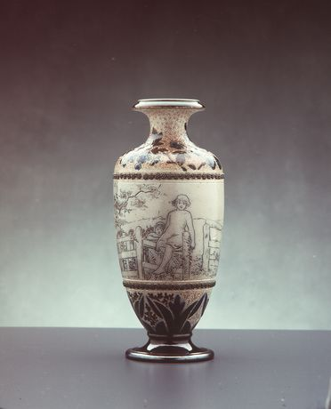 2840 Vase, ceramic, made by Doulton & Co, decorated by Mary Mitchell, Lambeth, England, 1881