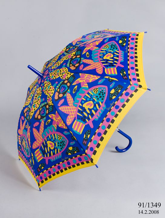 91/1349 Umbrella, 'Barrier Reef' design, plastic / nylon, designed by Ken Done, made by Oroton, Sydney, New South Wales, Australia, 1980-1990. Click to enlarge.