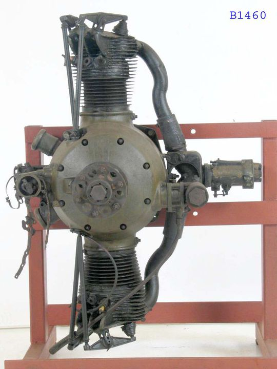 """B1460 Aircraft engine, Armstrong Siddeley """"Ounce"""", metal, Armstrong Siddeley Motors Limited, Coventry, England, c. 1920. Click to enlarge."""