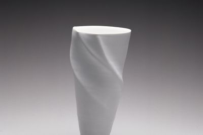 2001/41/1 Vase, 'Spiral form', Limoges porcelain with egg-shell white glaze, made by Victor Greenaway, Lakes Entrance, Victoria, Australia, 2000