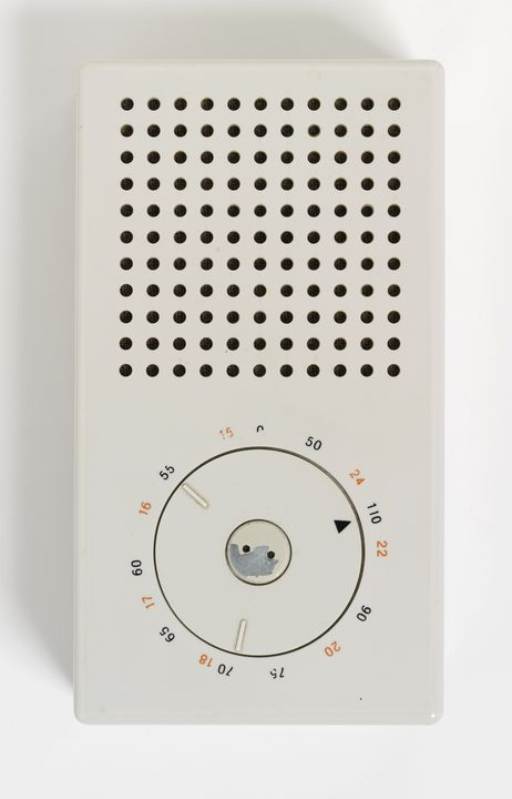 2012/30/1 Radio receiver, Braun T3 transistor radio, with information sheet and case, plastic / metal / electronic components, designed by Dieter Rams and Ulm School of Design (Hochschule für Gestaltung), made by Braun AG, Frankfurt, Germany, 1958. Click to enlarge.