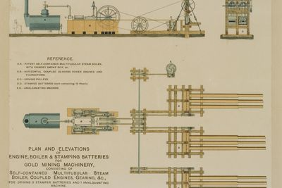 P210 Diagram of mining machinery, plan and elevations of boiler, engine and stamper batteries for extracting gold from rock